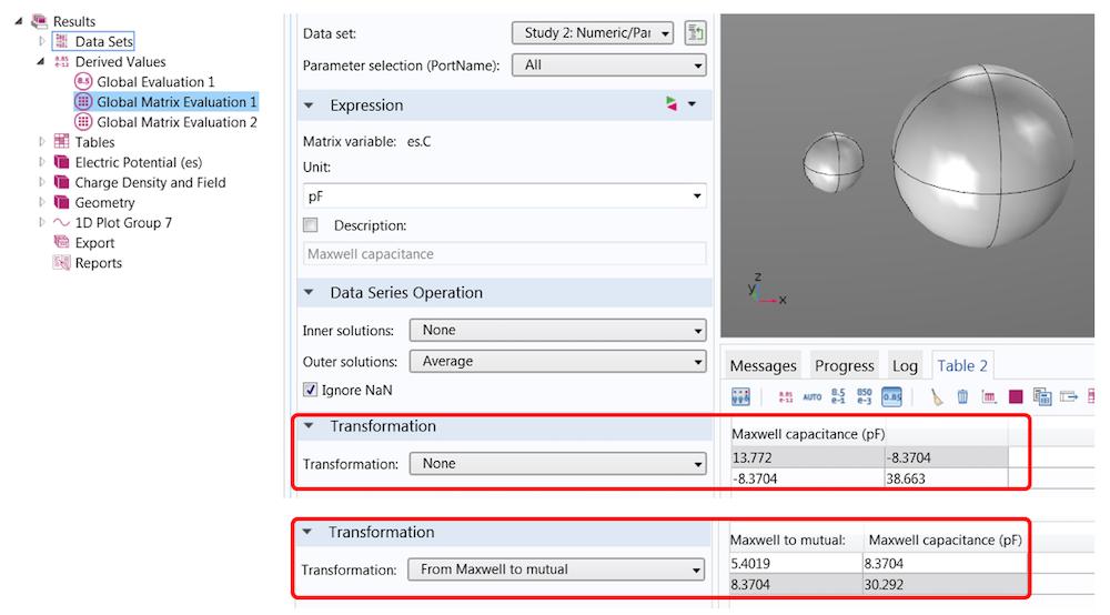 显示 COMSOL Multiphysics 中电容矩阵的带注释的屏幕截图。
