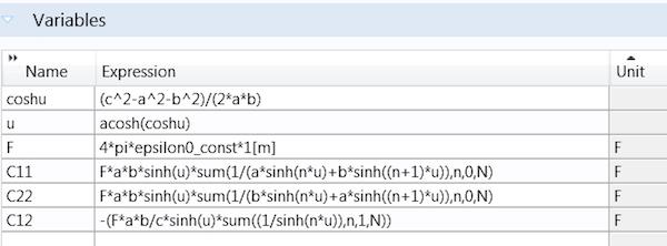 显示在 COMSOL Multiphysics 中声明为变量表达式的屏幕截图。