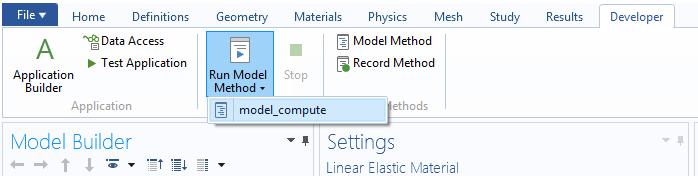 COMSOL Multiphysics GUI 截图显示了如何运行模型方法。