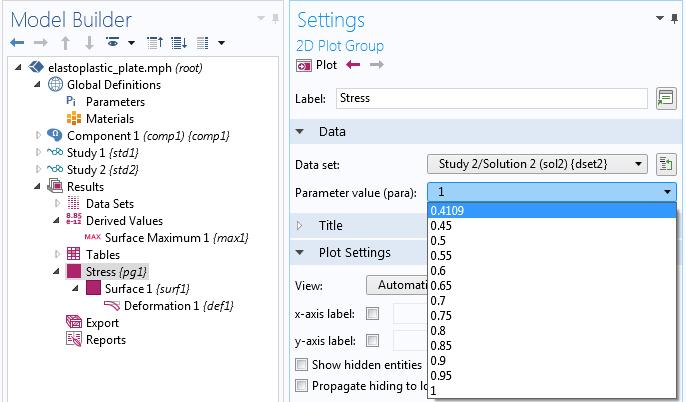 截图显示'二维绘图组'设置中的参数值选项。