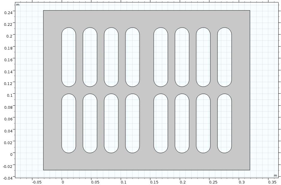一个带槽的矩形板二维几何。