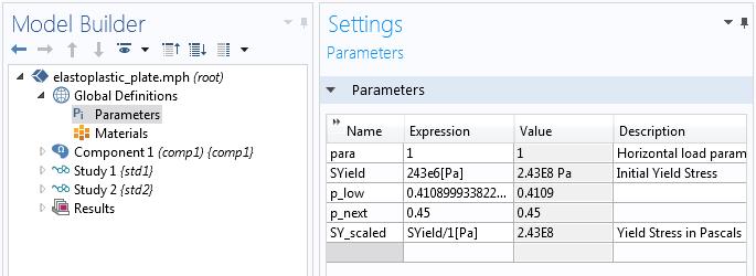 COMSOL Multiphysics GUI 截图显示一组参数值。