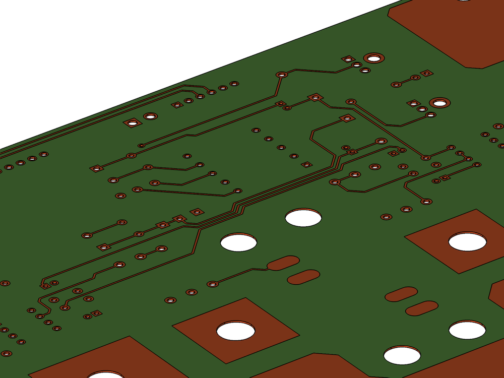 A geometry of a 2-layer printed circuit board design; file courtesy Hypertherm, Inc.
