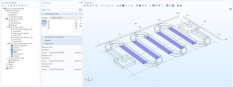 "COMSOL Multiphysics® 中""模型开发器""的屏幕截图,其中包含打开的蛇形反应器模型。"