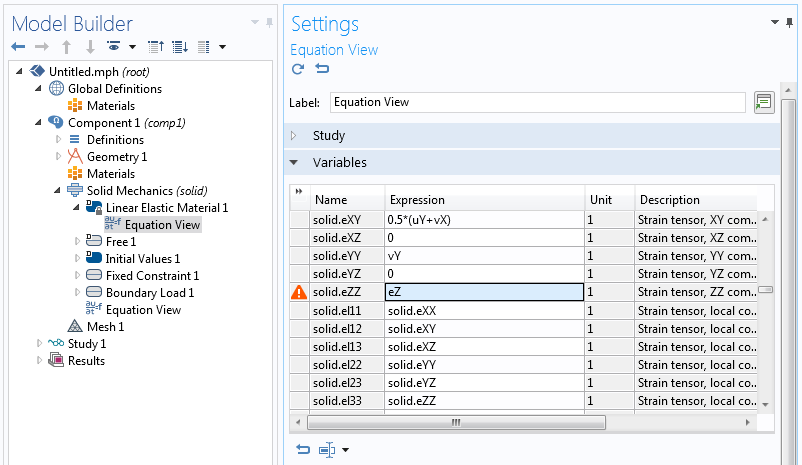 A screenshot of the Equation View Settings window.