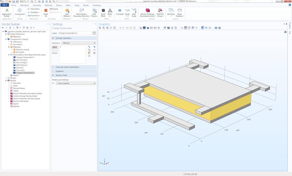 模型开发器中的具有多个介电常数值的 MEMS 电容器模型。