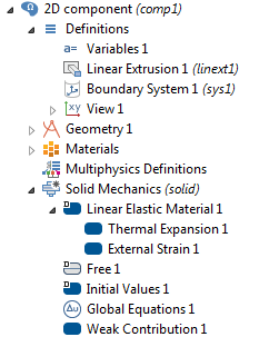 A screenshot showing the nodes for a generalized plane strain condition in the Model Builder tree.