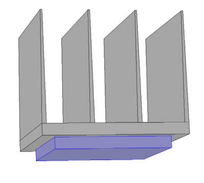 散热器和电子芯片模型的示意图。