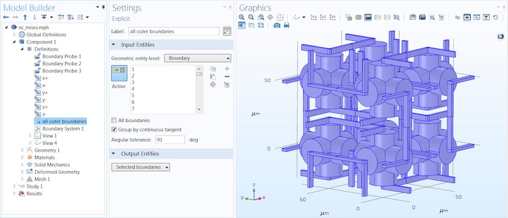 截图显示模型开发器、设置窗口与外部边界的图形窗口。