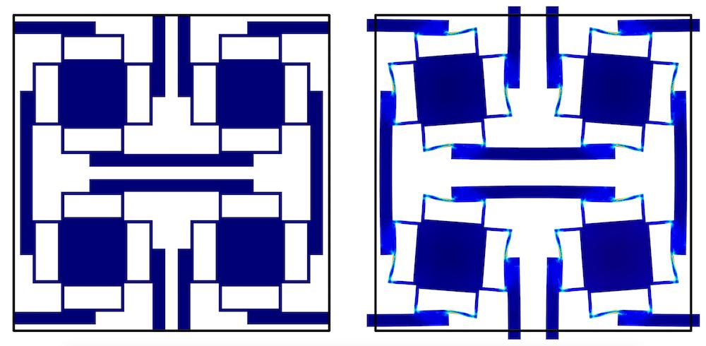 左右图片显示零压力下与压力增大后的晶胞的图片。