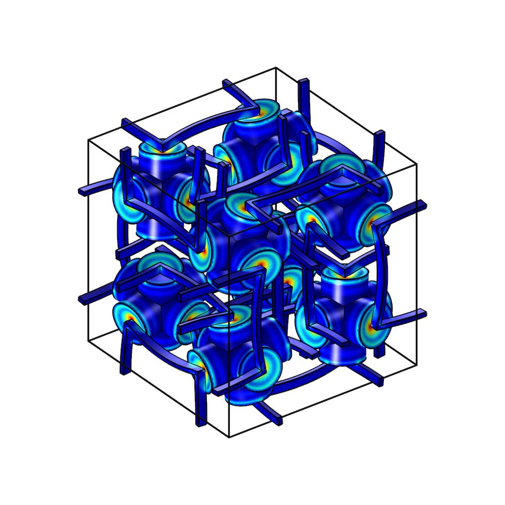 图片显示多孔弹性超材料结构。