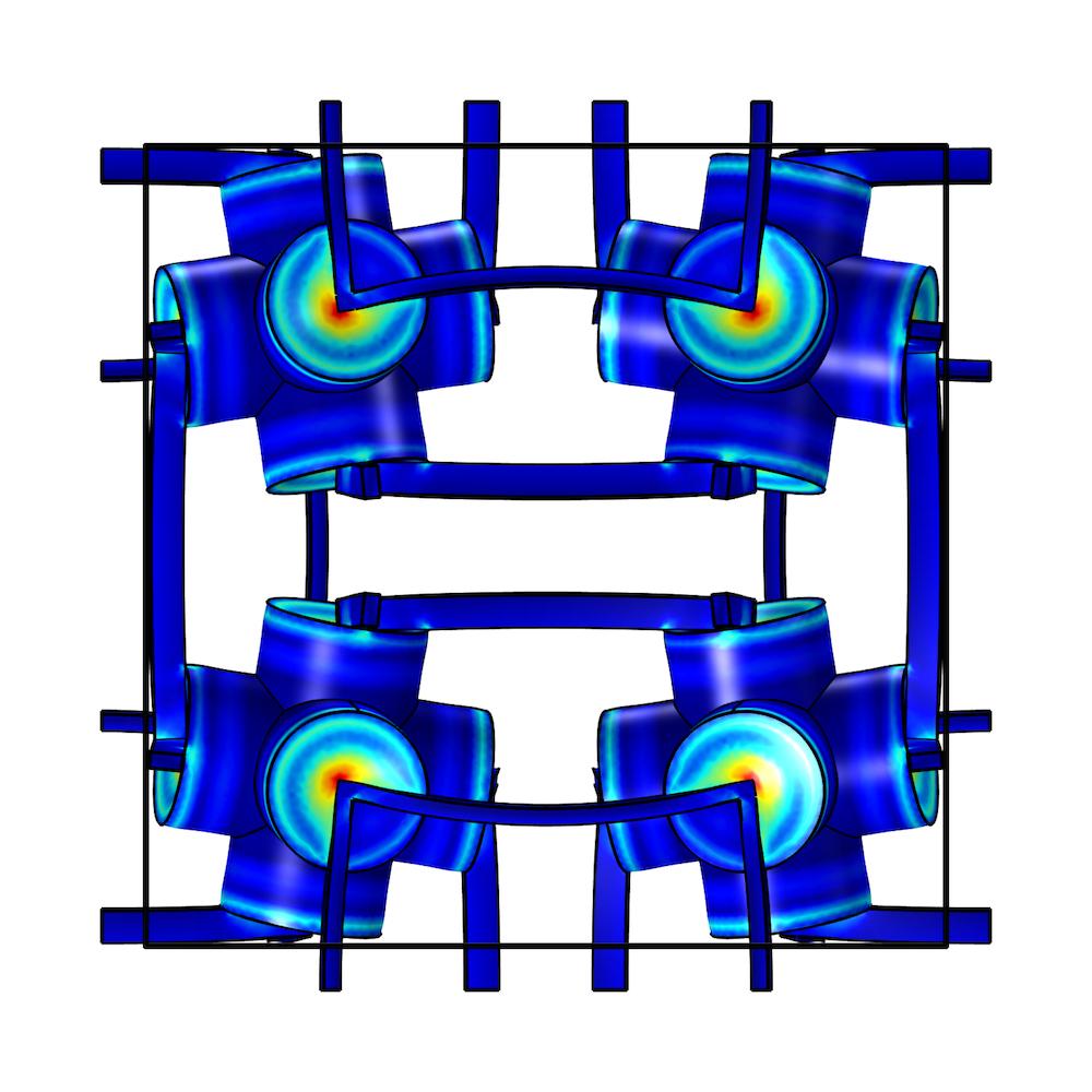 侧面图显示多孔弹性超材料结构的仿真结果。