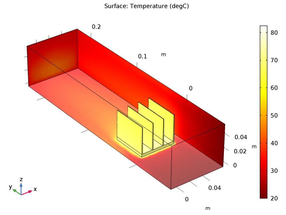 在散热器模型中引入了面-面辐射的温度场仿真结果。
