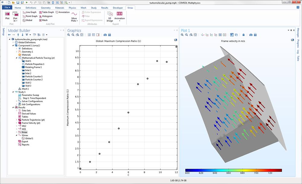 "COMSOL Multiphysics 的""模型开发器""截图显示了开启的涡轮分子泵模型。"
