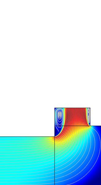 工业反应器模型的速度流线图。