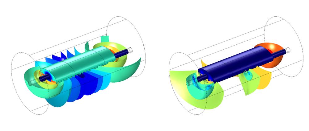 COMSOL Multiphysics® 模型的表面图和体积图。