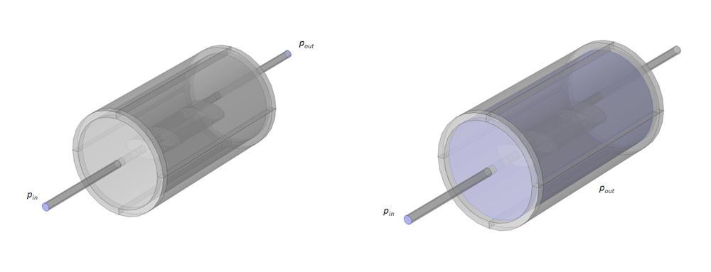 消声器模型和声学域图,其中所示边界包含在 TL 计算中。