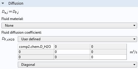 显示扩散设置的Comsol多物理图形用户界面的屏幕截图。