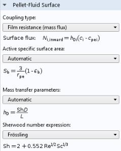 COMSOL软件GUI的屏幕截图,显示模型的颗粒流体表面设置。