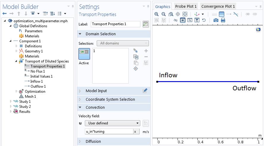 显示如何在 COMSOL Multiphysics® 中设置多参数优化问题的屏幕截图