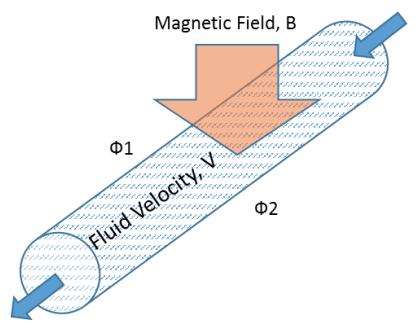 电磁流量计示意图,由 S. Dasgupta 等人提供。