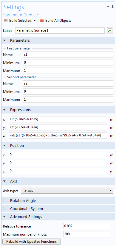 插值函数的参数化曲面功能设置