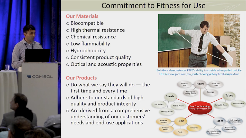 A photograph from a keynote presentation on using COMSOL Server™ for product development.