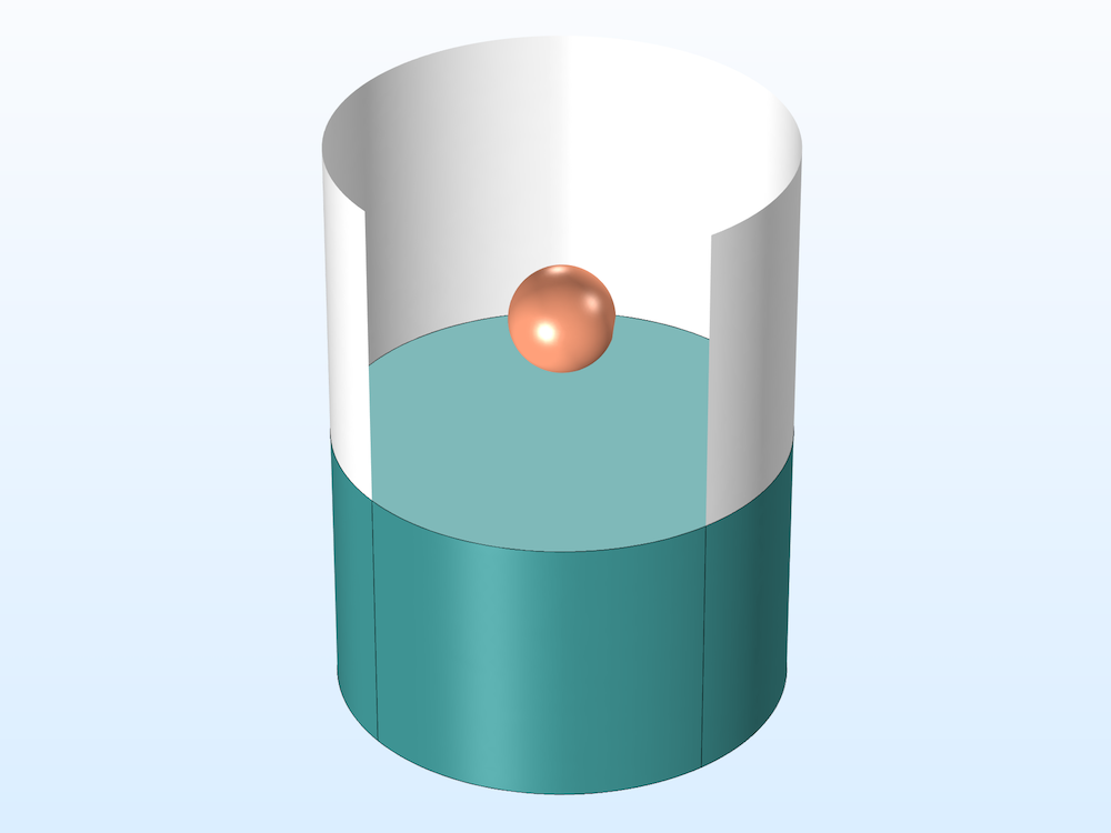 A model of a sphere falling on a water surface.