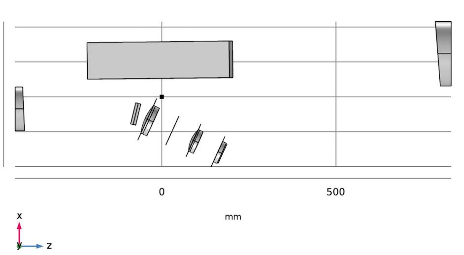 图片显示 COMSOL Multiphysics 中阶梯光栅光谱仪模型的完整几何序列。