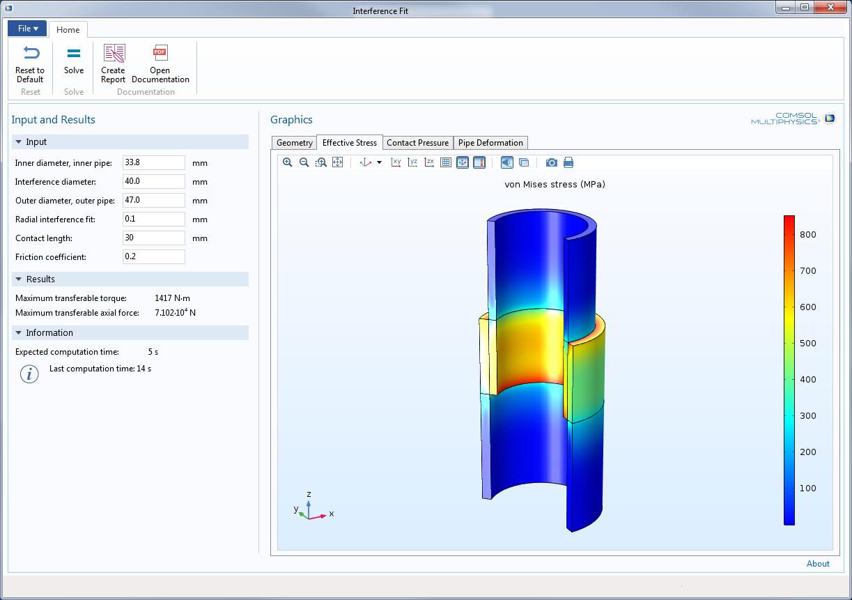 interference fit simulation app 通过结构分析对两根管道间的过盈配合进行优化