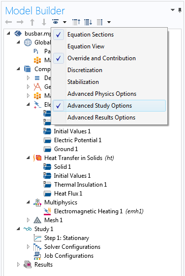 """显示 COMSOL Multiphysics GUI 中的""""高级研究选项""""的屏幕截图。"""