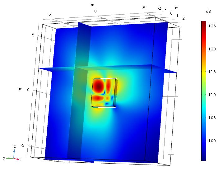 图片显示了利用边界元法建模的贝塞尔面板。