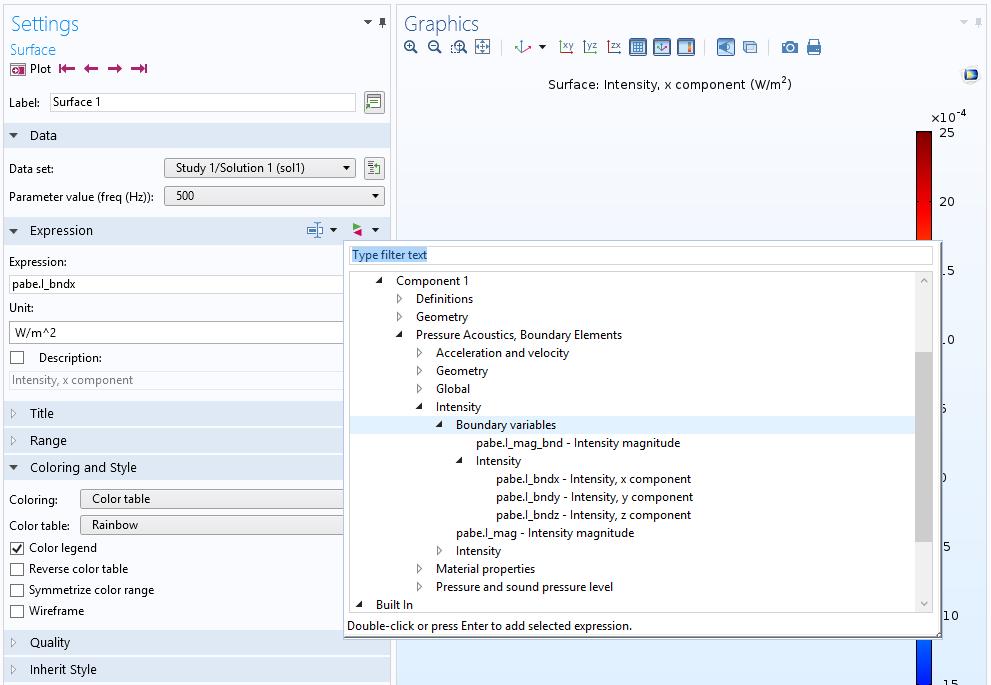 截图展示了 COMSOL® 软件中可用的 BEM 后处理变量。