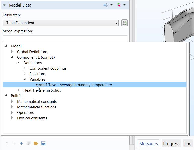 截图突出显示了 COMSOL Multiphysics® 中自动完成功能的使用。