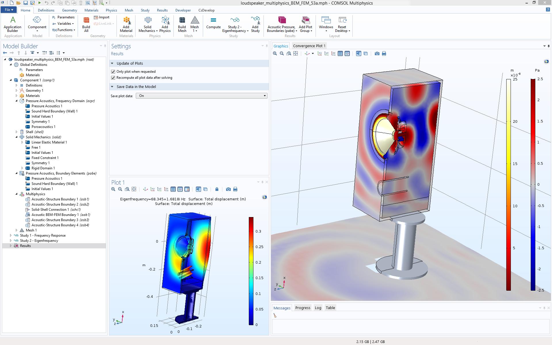 图片显示了 COMSOL Multiphysics® 软件中的扬声器多物理场模型。