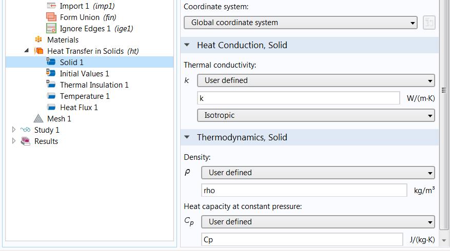 """定义了估计的材料属性的""""固体传热""""节点的截图。"""