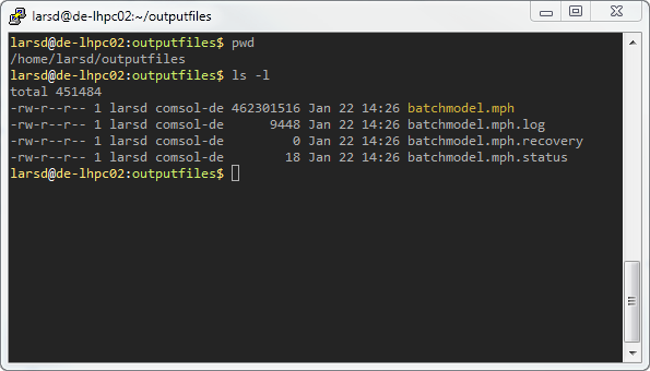 COMSOL Multiphysics 模型的集群作业期间创建的 PuTTY 文件的屏幕截图。