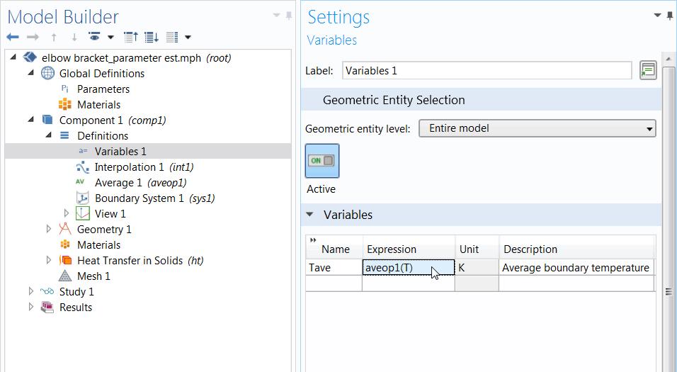 """用于参数估计的已定义变量的""""设置""""窗口的截图。"""