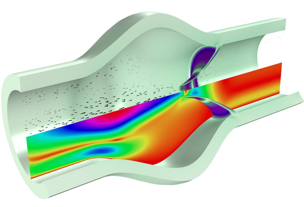 模型图片显示了闭合中的心脏瓣膜的流固耦合。
