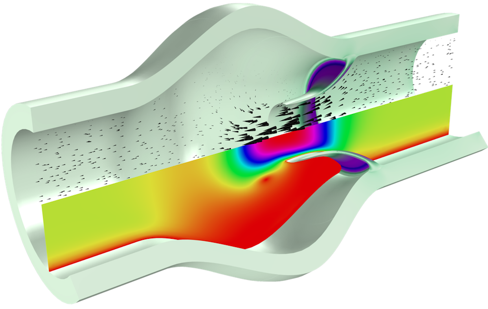 COMSOL Multiphysics® 仿真结果显示张开的心脏瓣膜。