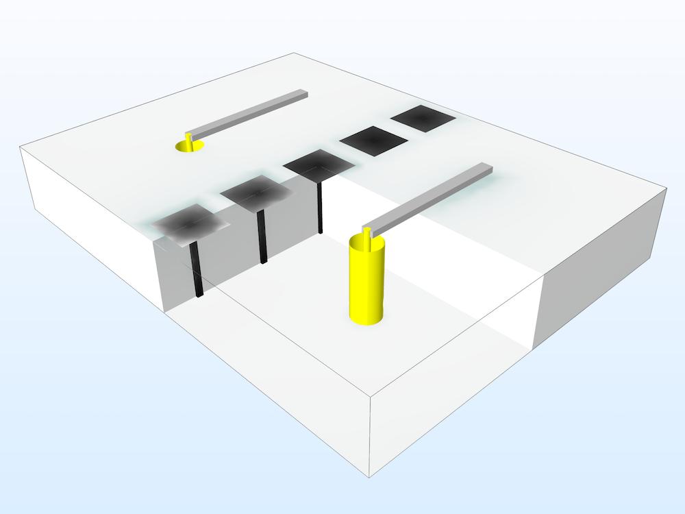 电磁带隙结构的模型几何。