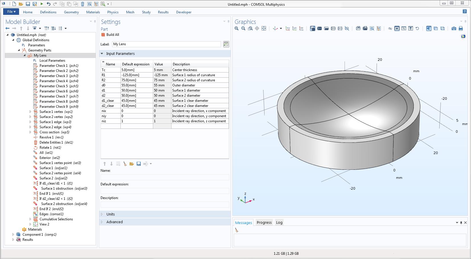 COMSOL Multiphysics® GUI 截图显示用户定义几何零件示例。