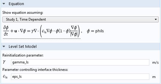COMSOL 软件中'水平集'接口设置截图。