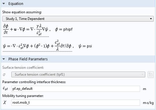 COMSOL 软件中'相场'接口设置截图。