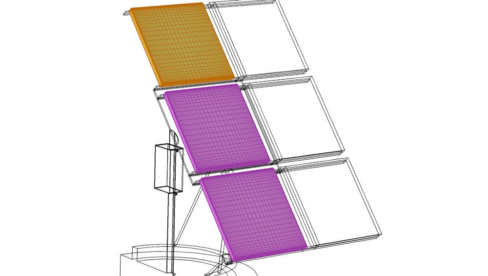 将扫掠网格从一个域复制到其他两个域的示例。