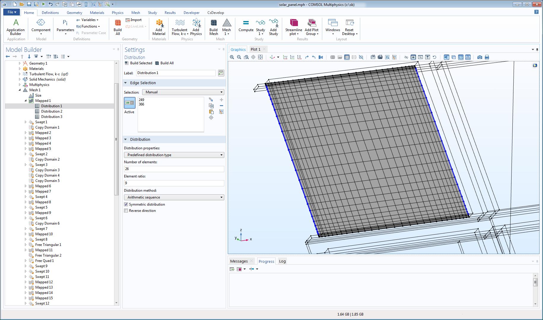 COMSOL Multiphysics GUI 中显示的包含映射网格的太阳能电池板模型。