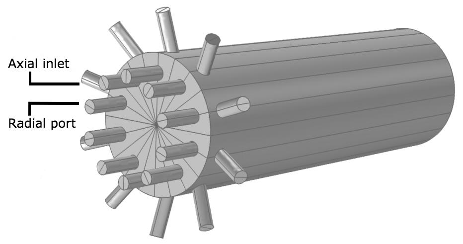 多孔喷嘴管式反应器的几何结构。
