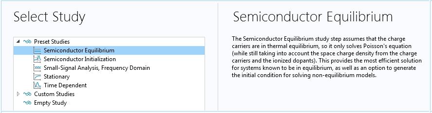 截图显示 COMSOL® 软件中的半导体平衡研究步骤。