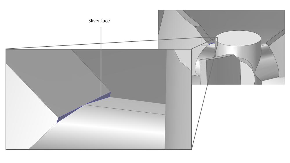 叶轮 CAD 几何结构上的长条面示例。