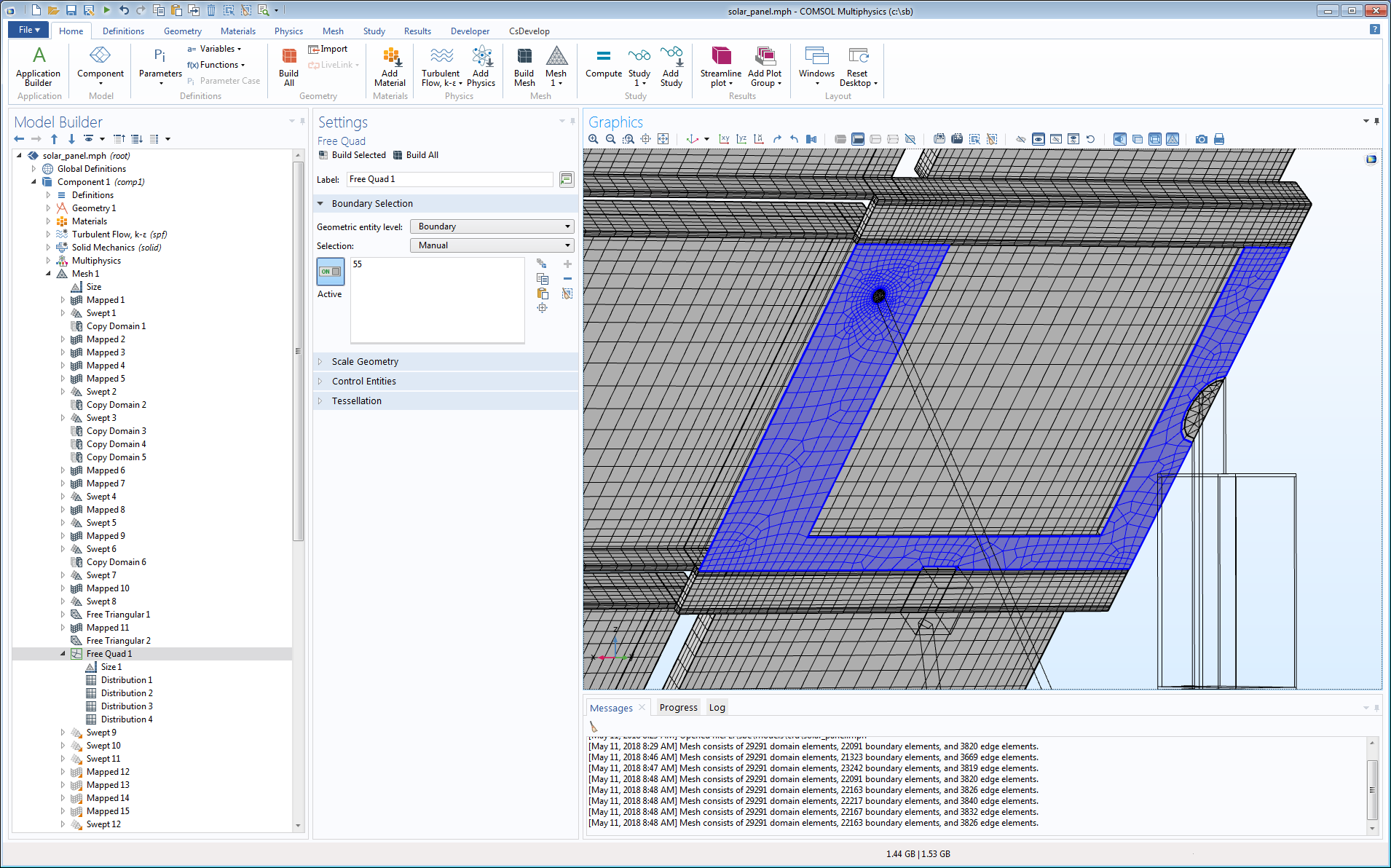 包含非结构化四边形网格的太阳能电池板模型。.
